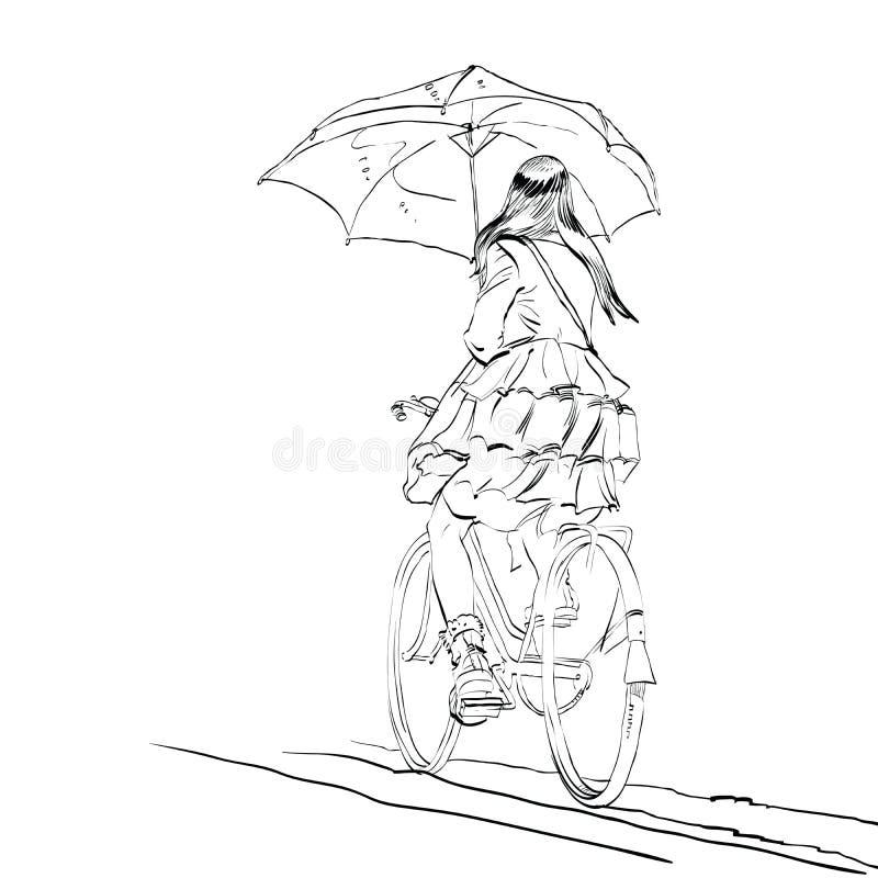 Girl On Bike With Umbrella Autumn Rain Stock Vector Illustration