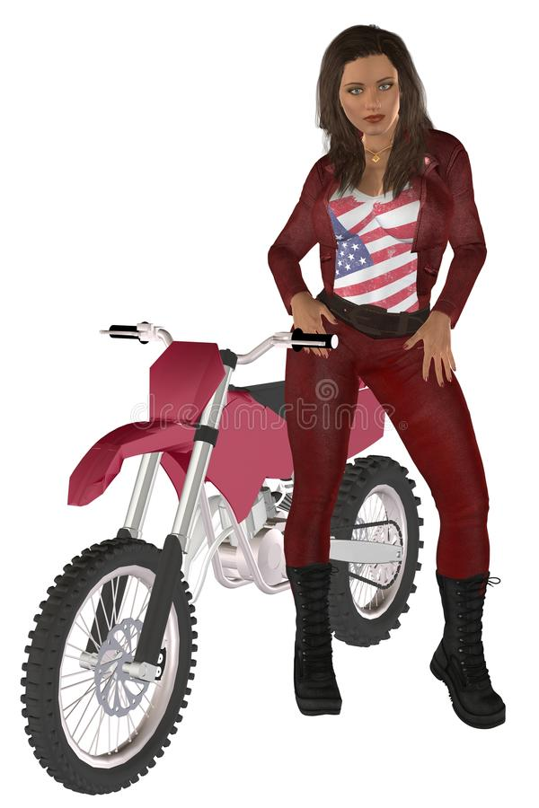 Girl biker. Woman in red leather pants and jacket posing on a motorcycle stock illustration