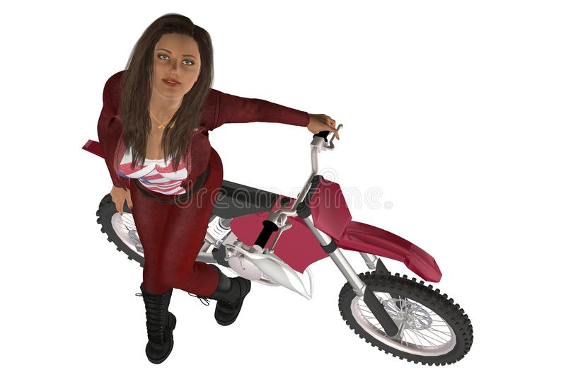 Girl biker. Woman in red leather pants and jacket posing on a motorcycle royalty free illustration