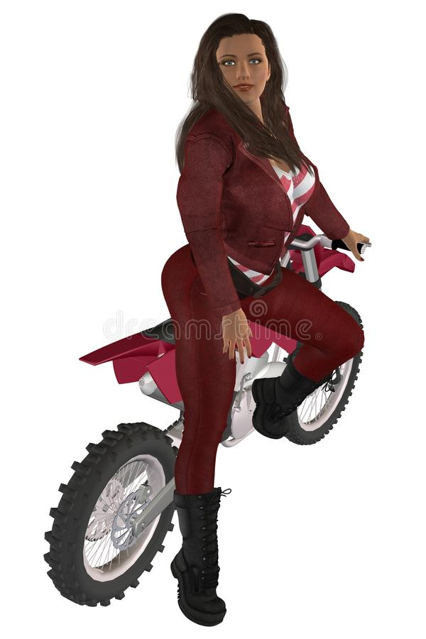 Girl biker. Woman in red leather pants and jacket posing on a motorcycle vector illustration