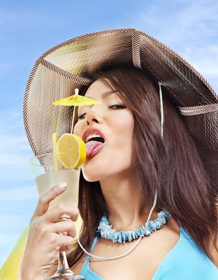Download Girl In Bikini Drinking Cocktail. Stock Image - Image: 18598393