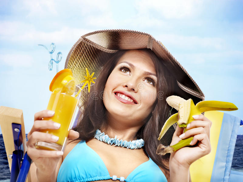 Download Girl In Bikini Drinking Cocktail. Stock Image - Image: 20752735