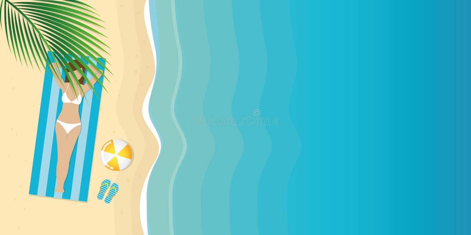 Girl in bikini is lying on the beach under a palm tree stock illustration
