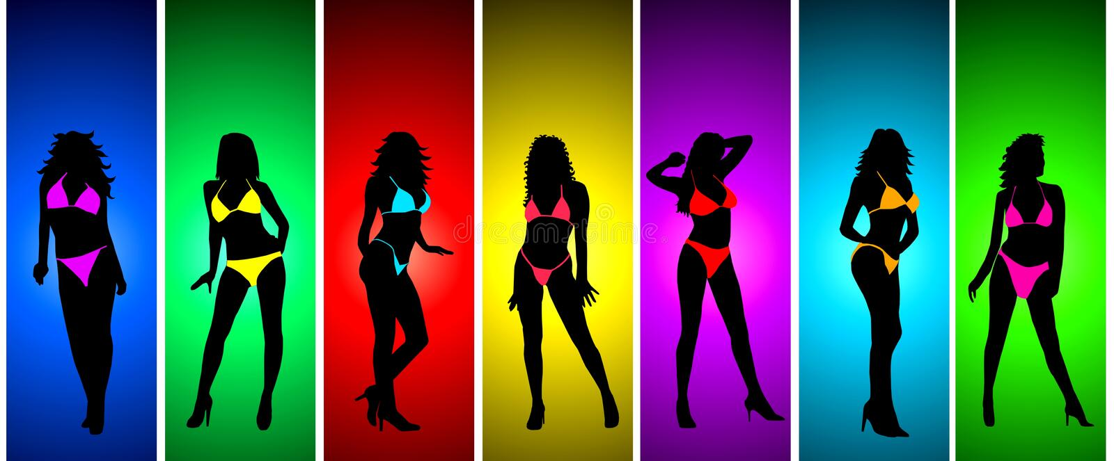 Girl in bikini silhouettes. A collection of an illustrated girl posing in a bikini and silhouetted on a variety of different colored backgrounds stock illustration