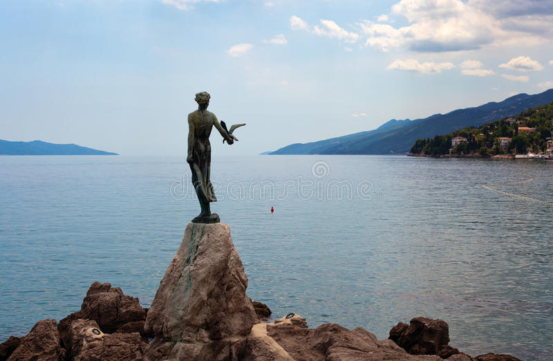 Download Girl with the bird stock image. Image of shore, opatia - 32100685