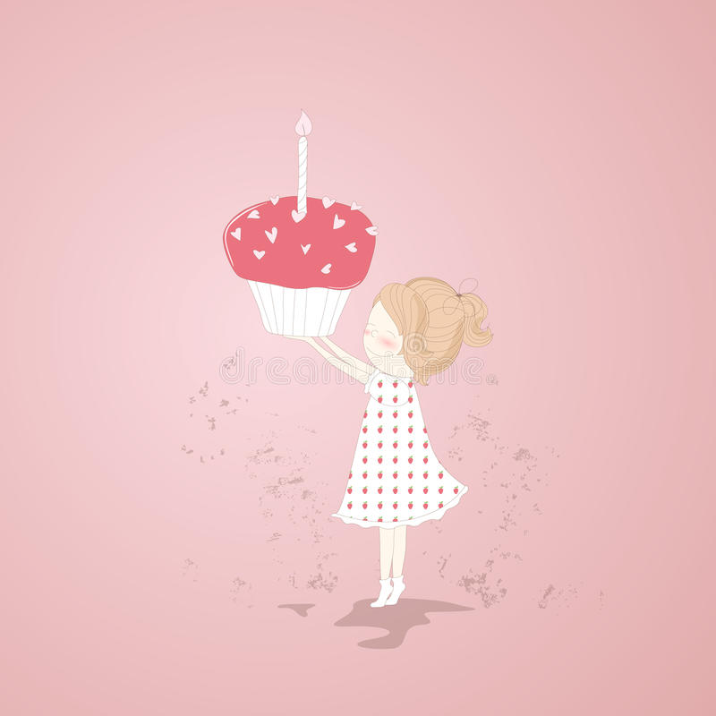 Download Girl with a birthday cake stock illustration. Image of date - 25129276