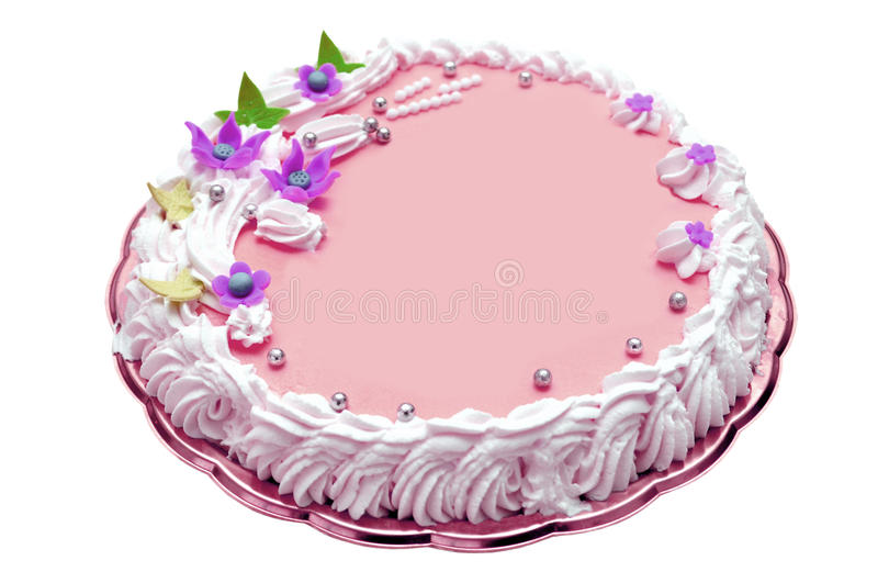 Girl birthday cake. Delicious birthday cake for girls with space for text isolated royalty free stock images