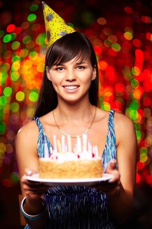 Girl with birthday cake royalty free stock photos