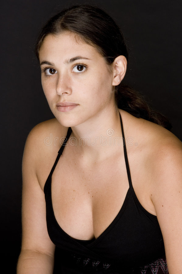 Download Girl In Black 1 stock image. Image of brunette, tanned - 205777