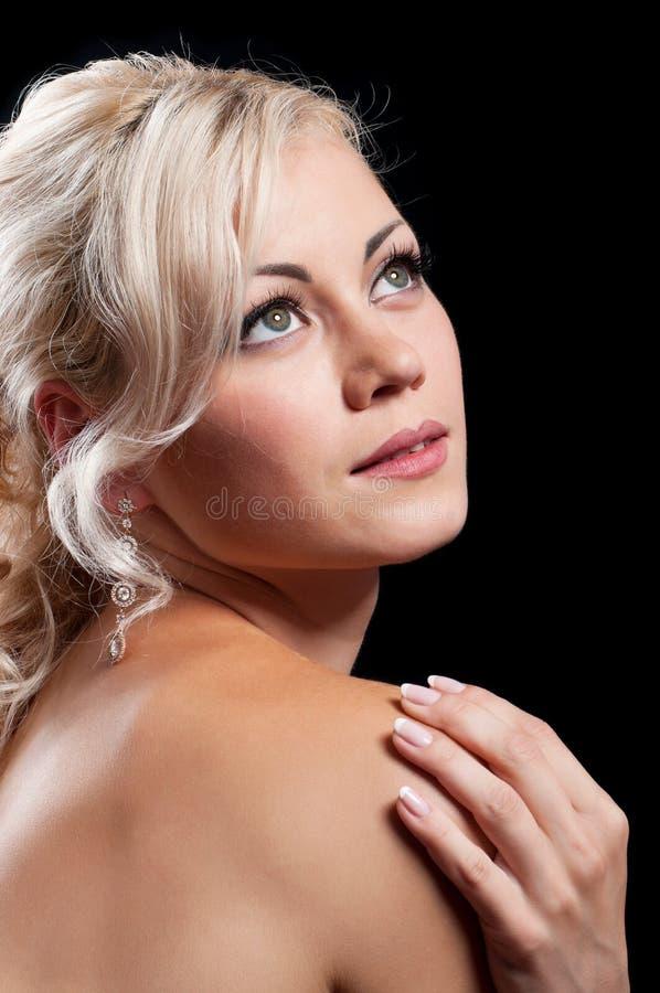 Girl On Black Background Stock Images