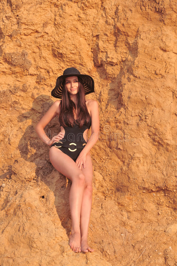 Download The Girl In A Black Bathing Suit Stock Photo - Image: 33468956