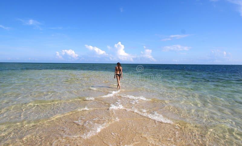 Girl in black bikini walking on the white beach royalty free stock photography