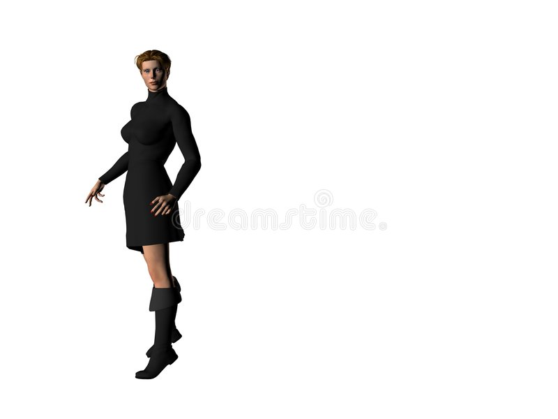 Girl in a Black Dress 1 royalty free illustration
