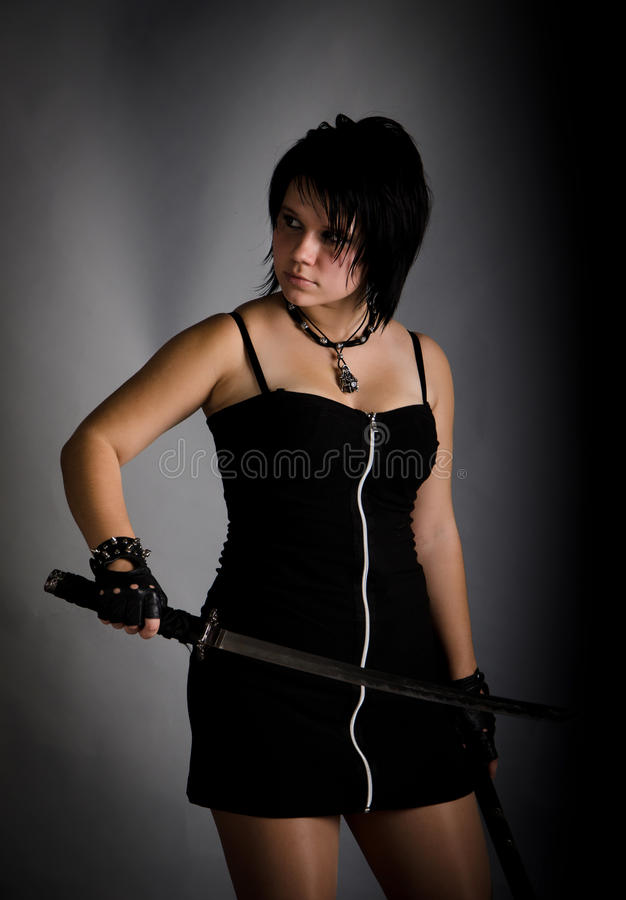 Download Girl In A Black Dress With A Katana Stock Image - Image: 21572961