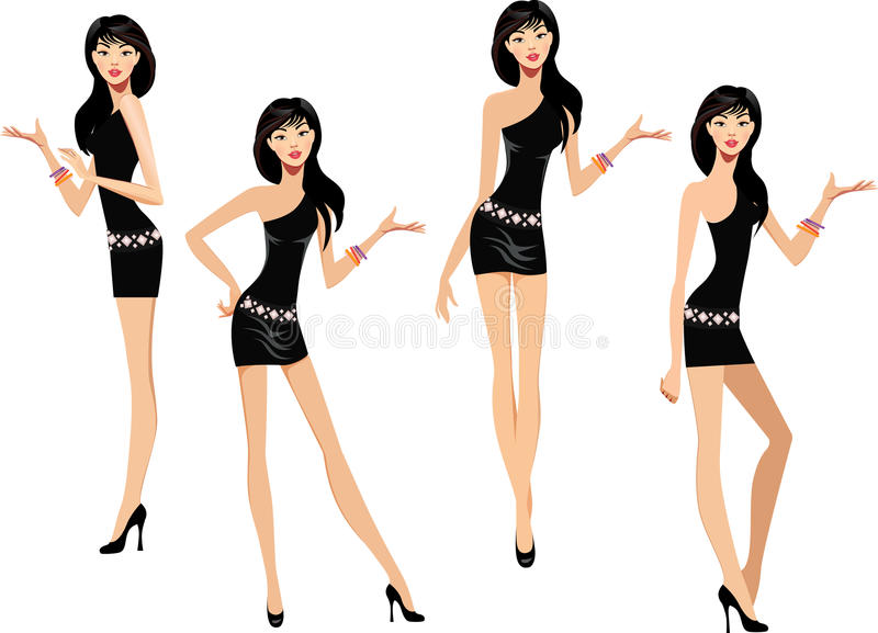 Girl in a black dress makes various hand gestures. Vector illustration of girl in a black dress makes various hand gestures vector illustration