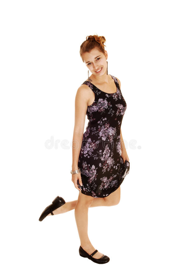 Download Girl In Black Flowered Dress. Stock Photo - Image: 26006076