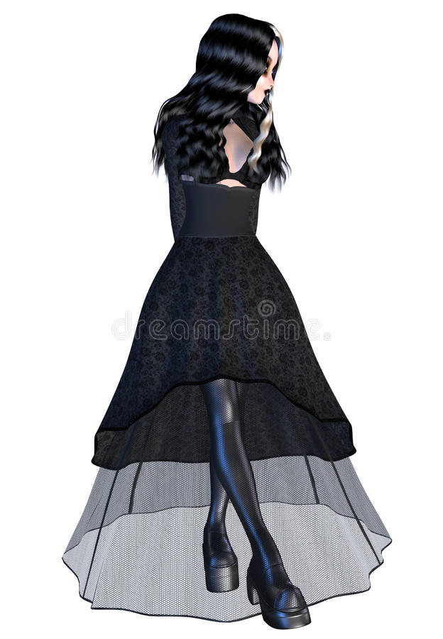 Download Girl in black gothic dress stock illustration. Image of gothic - 33957454