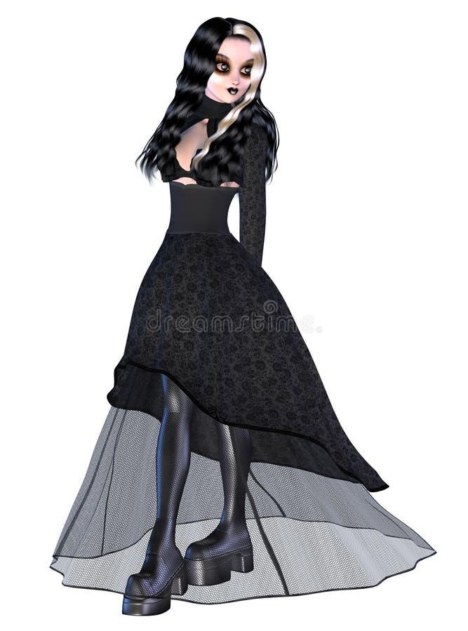 Girl in black gothic dress. Digitally rendered image of a gothic girl in black dress on white background royalty free illustration