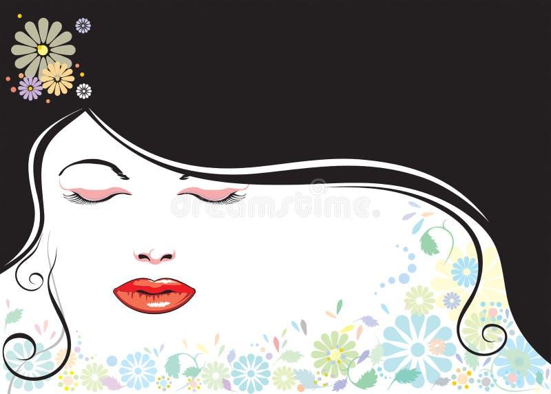 Girl and black hair vector illustration