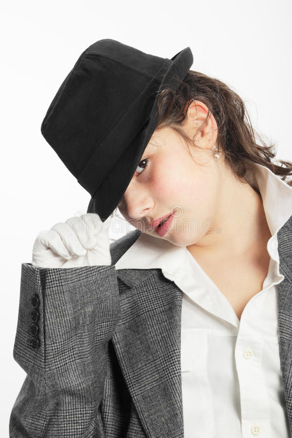Girl with black hat stock photography