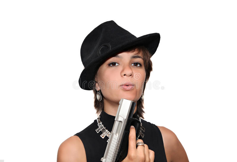 Download Girl In Black Hat With A Gun Stock Photo - Image: 10399898