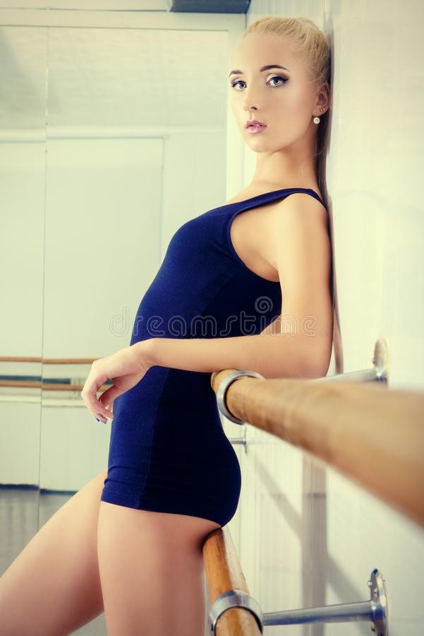 Girl in black leotard royalty free stock photos