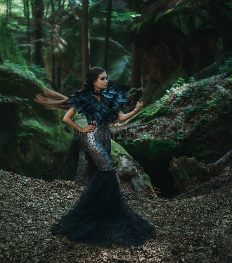 Girl - black raven royalty free stock images