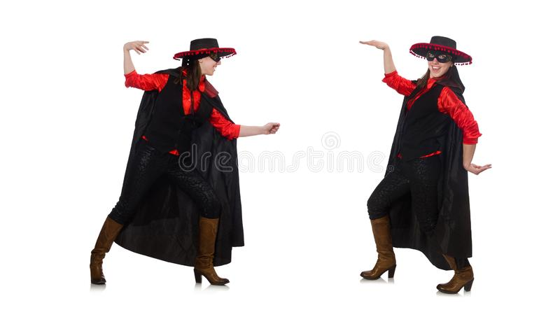 Girl in black and red carnival suit isolated on white stock photo