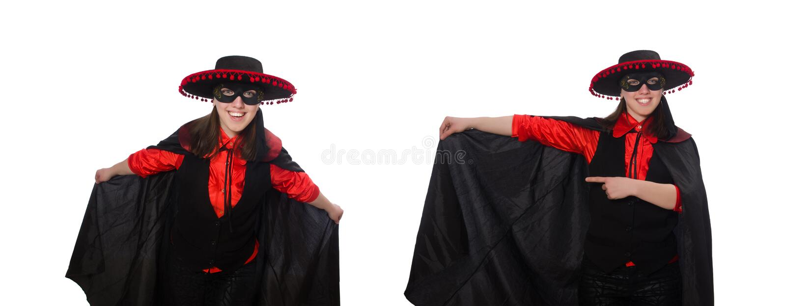 Girl in black and red carnival suit isolated on white stock images