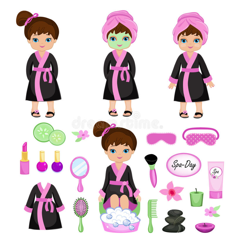Girl in a black robe takes spa treatments. Vector illustration isolated on white background vector illustration
