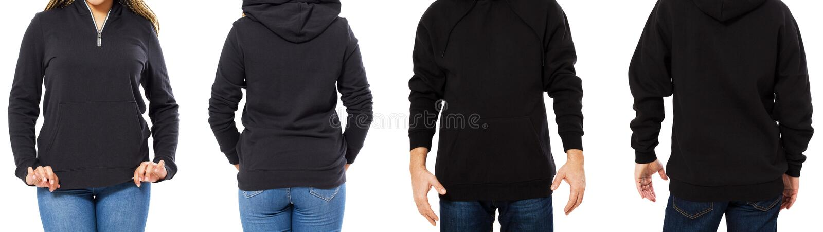 A girl in a black sweatshirt with a hood and a man in a sweatshirt front and back isolated, hoodie mockup empty royalty free stock photography