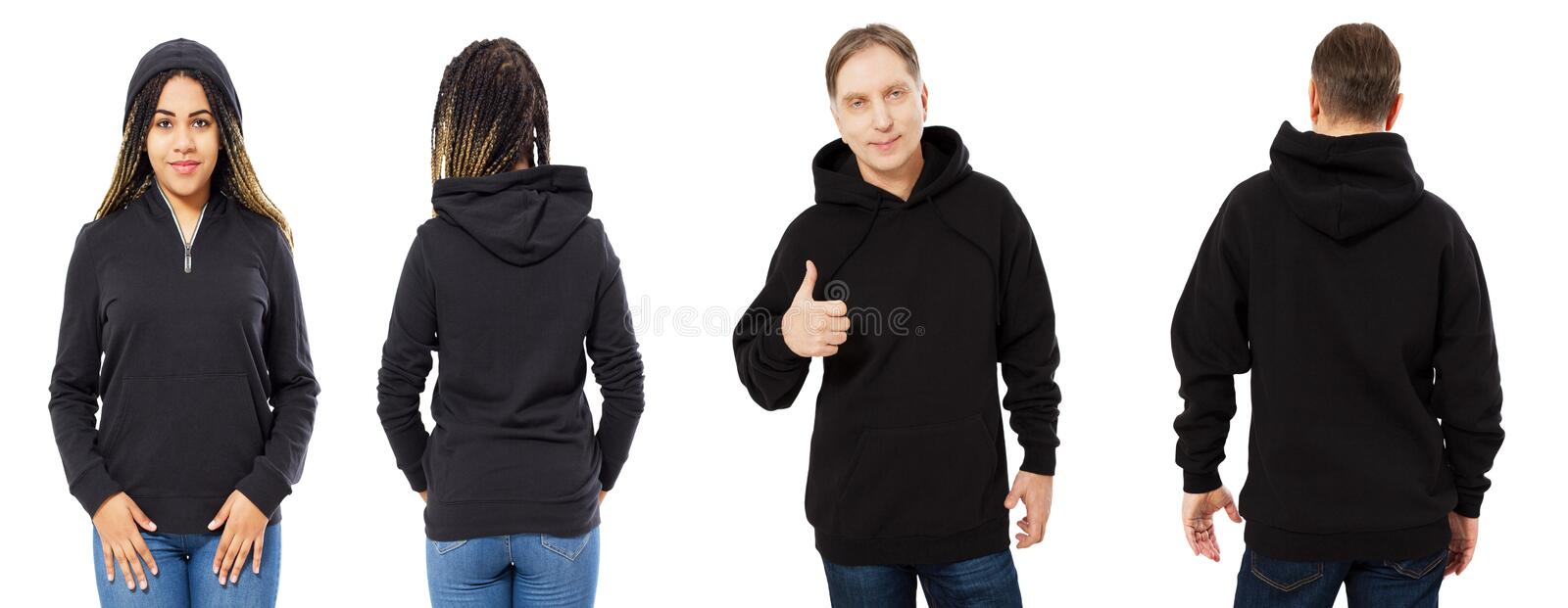A girl in a black sweatshirt with a hood and a man in a sweatshirt front and back isolated, hoodie mockup empty royalty free stock images