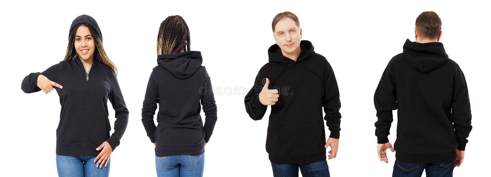 A girl in a black sweatshirt with a hood and a man in a sweatshirt front and back isolated, hoodie mockup empty stock images
