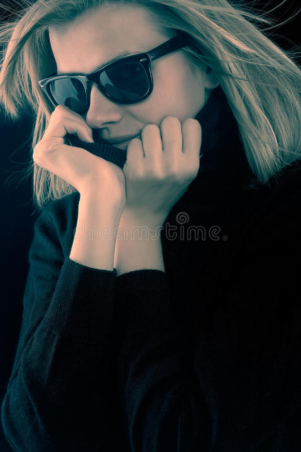 Download Girl In A Black Turtleneck With Retro Sunglasses Stock Image - Image of model, female: 13024541
