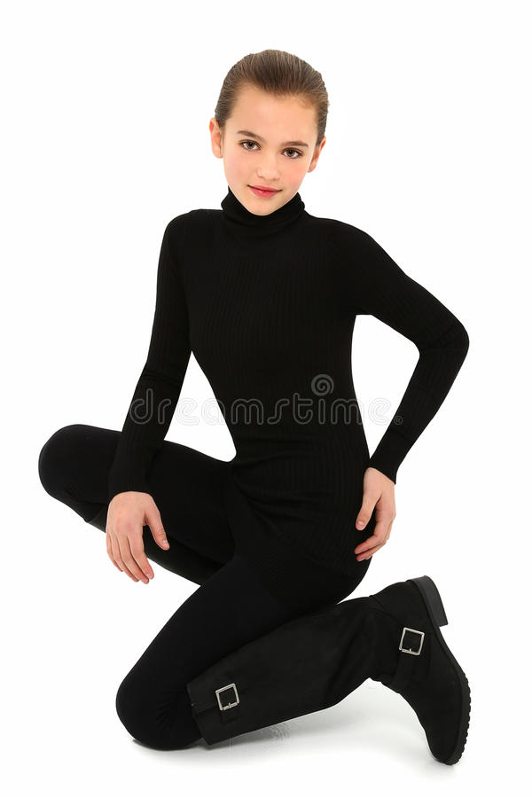 Girl in Black on White stock photography
