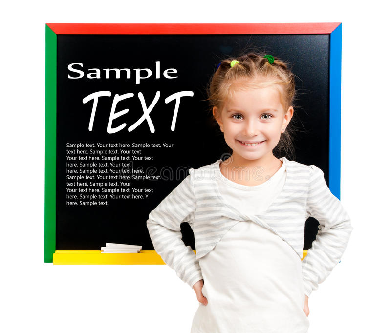 Girl with blackboard. Isolated with sample text royalty free stock image