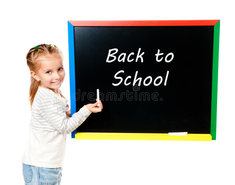 Girl with blackboard. Isolated with back to school royalty free stock photos