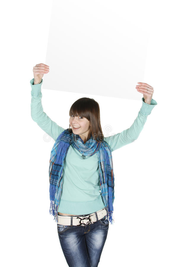 Download Girl with blank stock image. Image of corporate, message - 13078315