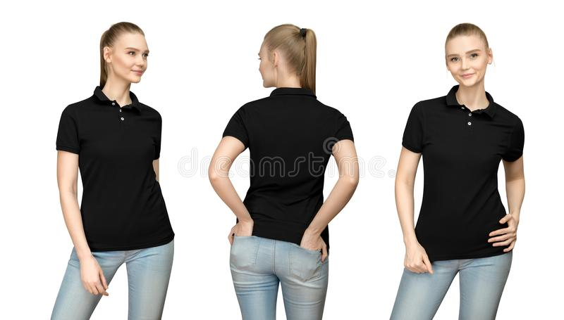 girl in blank black polo shirt mockup design for print and template woman in T-shirt front half turn side back view isolated royalty free stock photos