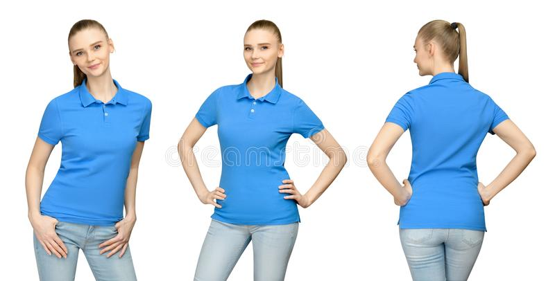 Girl in blank blue polo shirt mockup design for print and concept template young woman in T-shirt front and side back view royalty free stock images