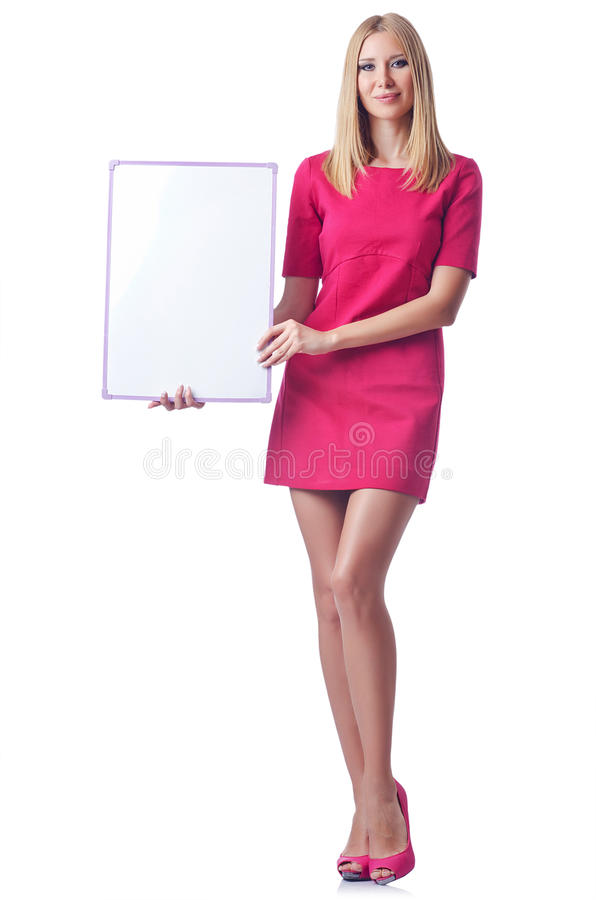 Download Girl with blank board stock photo. Image of clothes, board - 26480352