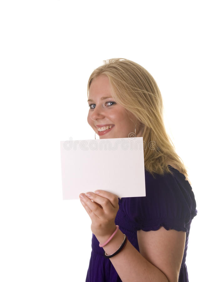 Girl with blank card stock photography