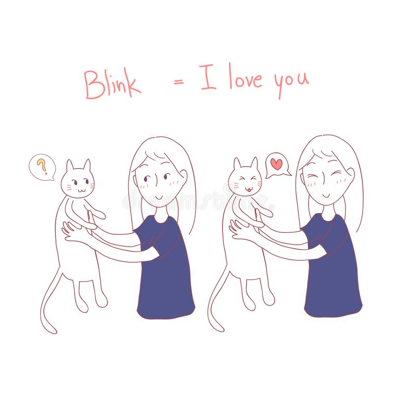 Girl Blinking at Cat. I love you in Cat Language. Vector Illustration. isolated on white background. Girl Blinking at Cat. I love you in Cat Language. Vector stock illustration