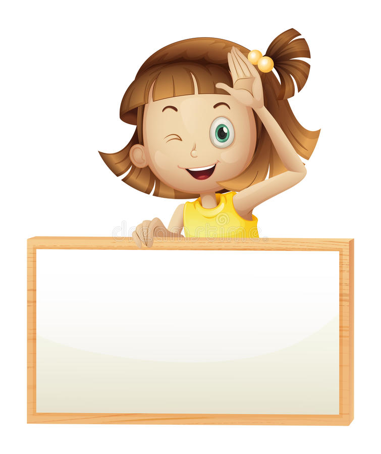 A girl blinking her eye holding an empty board. Illustration of a girl blinking her eye holding an empty board on a white background vector illustration