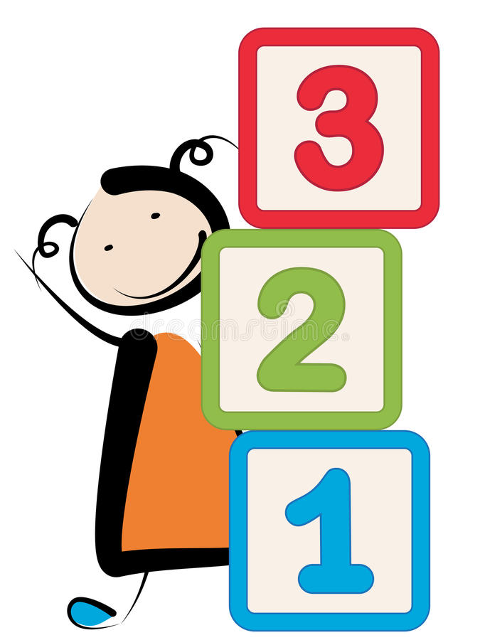 Girl with blocks. Little girl with building blocks 123 numbers stock illustration