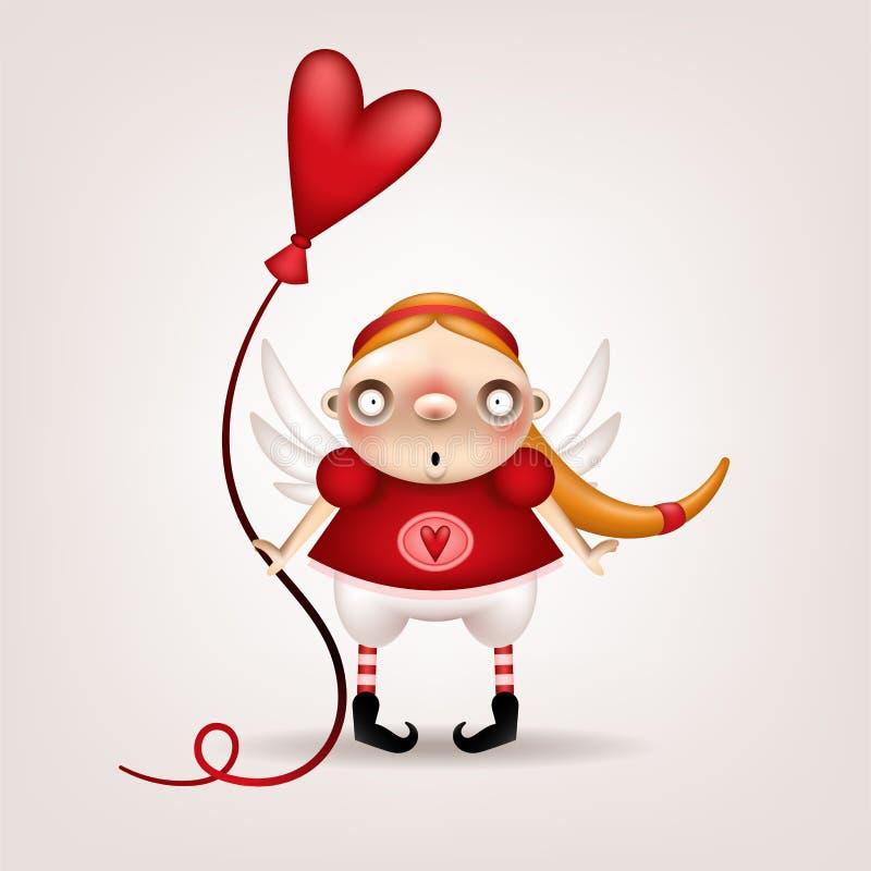 Girl blonde ballon vector illustration