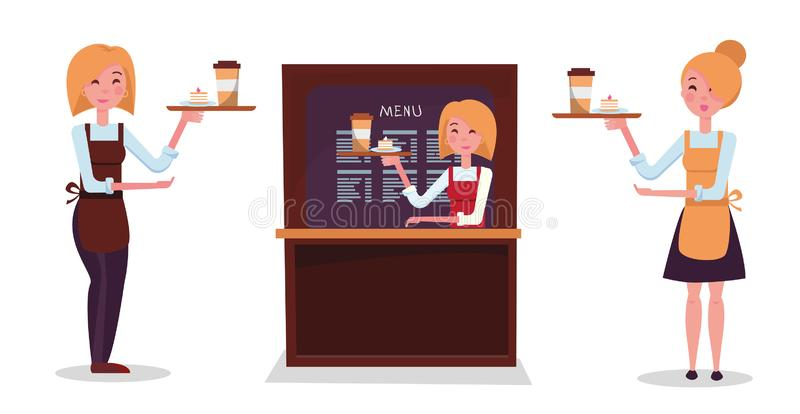 Girl blonde waiter. Set of three waitresses: in skirt, in trousers, behind the counter. Character holds tray with order: paper vector illustration