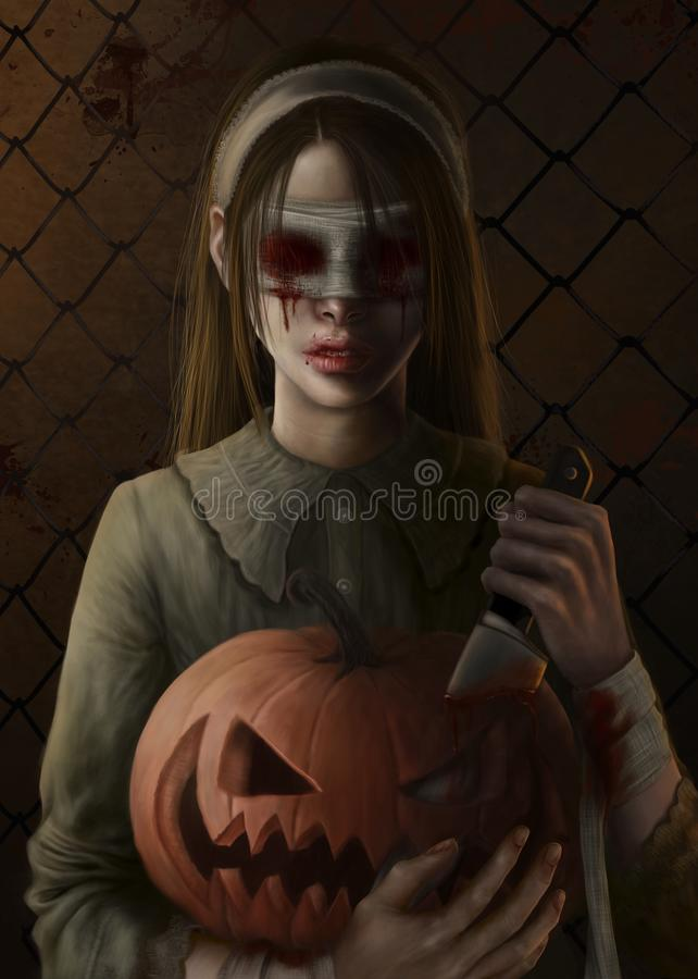 Girl with bloody eyes and pumpkin royalty free illustration