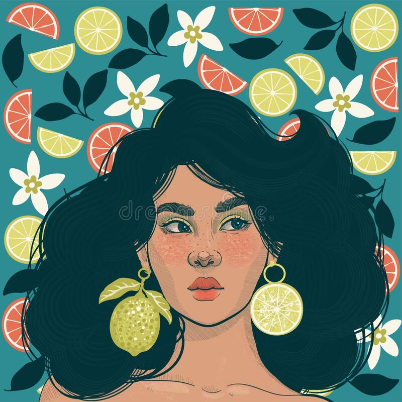 Girl and blooming citruses stock images