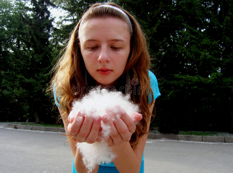 Girl blow fuzz. Lovely girl started to blow fuzz stock photos